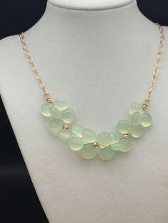 Handmade Apple Green Chalcedony  Ethiopian Opal 14k Gold