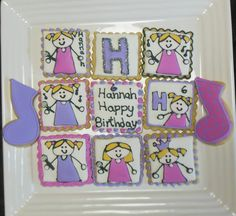 musical stick figure girl decorated sugar cookies I made for nieces High School Musical theme birthday- stick figure girl idea from book  http://www.amazon.com/Complete-Photo-Guide-Cookie-Decorating/dp/158923748X  nov 2013