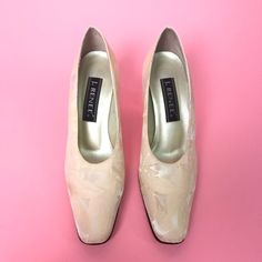 145d178b896 Satin brocade clear plastic heel 8.5