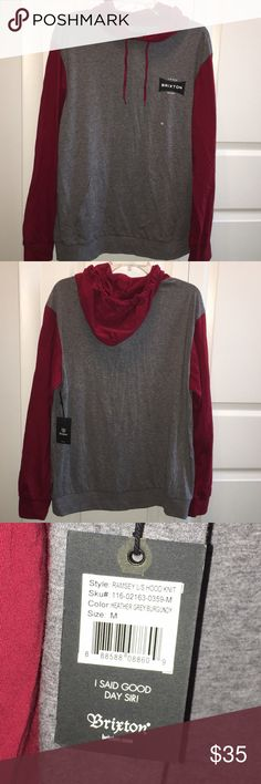 Brixton Ramsey long sleeve lightweight hoodie knit Brixton - Ramsey l/s hood knit - heather grey/burgundy. Size medium men's. NWT. Any questions - feel free to leave a comment below. Brixton Shirts Sweatshirts & Hoodies
