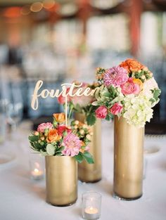 Glam gold calligraphy table decor