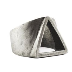 Man silver ring, handmade with silver, metal alloy and then oxidized for an old antique look. Mens and womens jewellery and rings with a