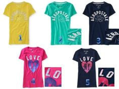 Aeropostale shirts for girls!!!!!! I wear a size Small in Juniors!!! These shirts keep making me popular at school!!!!!!!!!!!!!!!! Just saying this will help you get popular lonely kids!!!!!!!