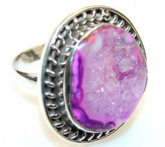 Fantastic Agate Druzy Sterling Silver ring s. 8 1/2