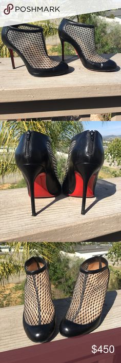 Christian Louboutin booties Authentic Christian Louboutin booties cute with any outfit only wore a handful of times mainly for work. Comes with two original dust bags and heel replacements not box. Selling them only because they have been in my closet and don't want them just sitting there collecting dust 😫 on the bottom it does have some scuff but that's mainly it. Christian Louboutin Shoes Ankle Boots & Booties