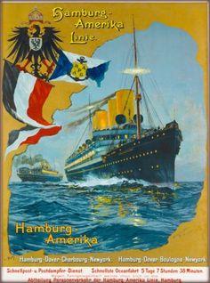 Hamburg-Amerika-Linie-Vintage-German-Travel-Oceanliner-Cruise-Ship-Poster-Print