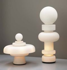 Bobo Piccoli; Opaque Glass and Enameled Metal 'Regina' and 'Re' Table Lamps for Fontana Arte, c1968.
