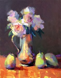 Antique Pitcher with Roses by Trisha Adams Oil ~ 20 x 16