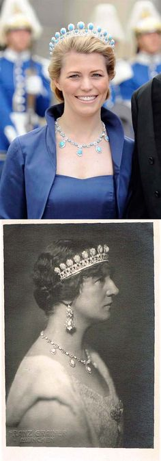 Princess Victoria Adelaide of Schleswig-Holstein-Sonderburg-Glücksburg was married Duke Charles Edward of Saxe-Coburg-Gotha in 1905. The turquoise and diamond parure consists of a tiara, a matching necklace, a brooch with a large oval stone at the center with a pendant drop and earrings. The origin of the parure has not yet been resolved, because the wedding gift list of Duchess Victoria Adelheid are not yet complete. Above: Princess Kelly of Saxe-Coburg-Gotha. Bottom: Duchess Victoria…