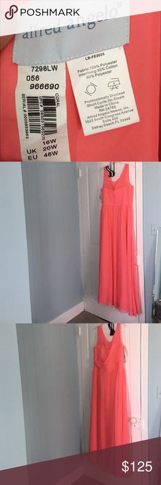 Alfred Angelo Coral Bridesmaids Dress. Long bridesmaids dress, very comfortable, even if you have a large chest; I did not have a problem in the chest and/or arm area!!! Only worn one time. Alfred Angelo Dresses Wedding