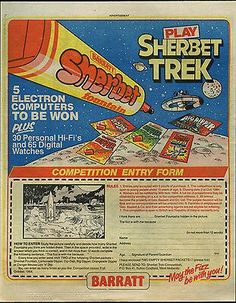 1984 Barratt Sherbet competition - how could I forget the big dipper!
