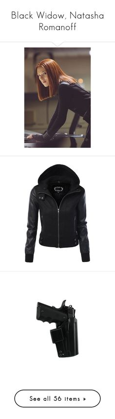 """""""Black Widow, Natasha Romanoff"""" by silver-butterflies23 ❤ liked on Polyvore featuring marvel, avengers, hair, natasha romanoff, people, outerwear, jackets, tops, coats and faux leather motorcycle jacket"""