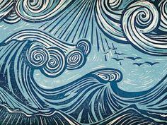 woodcut beach sea waves - Google zoeken