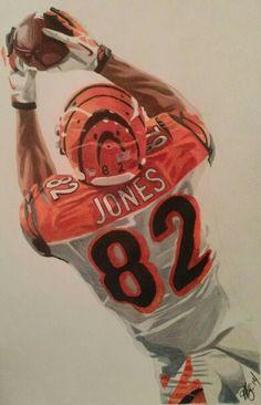 Marvin Jones Cincinnati Bengals watercolor pencils