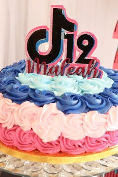 Check out this wonderful TikTok birthday party! The cake is amazing!! See more party ideas and share yours at CatchMyParty.com