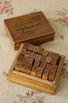 Stamp Set-Antique Wooden Stamp Set-Alphabet Stamp Set-Rubber Stamp-Stationary