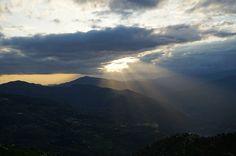 Clouds, Sun Rays, Dusk, Mountains, Landscape, Cloudy
