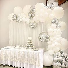 A gorgeous white and silver themed wedding at Ambrose Estate! Baptism Party Decorations, Silver Wedding Decorations, Birthday Balloon Decorations, Birthday Balloons, White Silver Wedding, Deco Ballon, White Balloons, Wedding Balloons, Balloon Garland