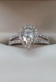 Adore this sweet Pear shaped Diamond Engagement Ring!! The split Diamond Shoulders are gorgeous. Favorite! http://www.glatzjewelers.com/