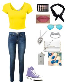 """""""Downtown"""" by gymnastics7 ❤ liked on Polyvore featuring Frame Denim, Converse, MICHAEL Michael Kors, Boohoo, Ray-Ban, Talbots, She's So and MAC Cosmetics"""