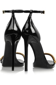 bf9199903 Saint Laurent Jane chain-embellished patent-leather sandals –  580 Black  Leather Sandals