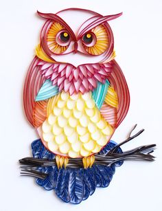 The Great Horned Owl - Unique Paper Quilled Wall Art for Home Decor (paper quilling handcrafted art piece made by an artist in California)