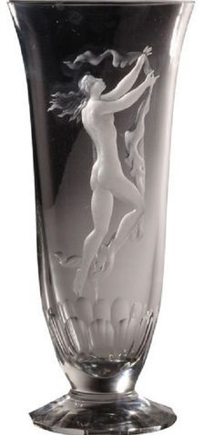 Vintage 30cm Czech crystal studio art glass vase intaglio engraved nudes Jindrich Tockstein Studio Art, Artist At Work, Czech Glass, Nudes, Glass Art, Vase, Crystals, China, Vintage