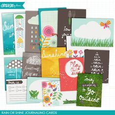 Rain or Shine Journaling Cards *NEW* from Design by Dani  | Full of whimsy and fun these cards are perfect for those bring sunny days and those rainy ones too! This mix of 4x6 and 3... www.snapclicksupply.com