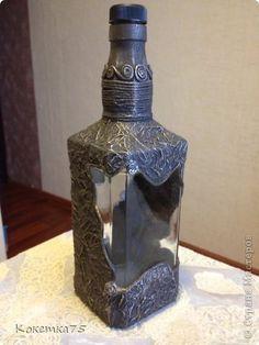 Декор предметов Аппликация из скрученных жгутиков Бутылочка Бутылки стеклянные Клей фото 2