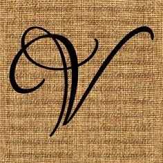 Monogram  Initial Letter V Letter Clip Art by InstantPrintable, $1.80