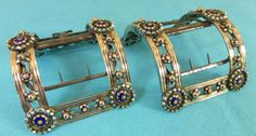 Rare Pair Georgian French Sterling Silver Gold Enamel & Steel Buckles Paris 1786 #French