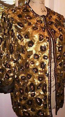 e7083479edc Vintage Sequined Beaded Animal Print Blazer Jacket Perfect 80 s Glam Beaded  Jacket
