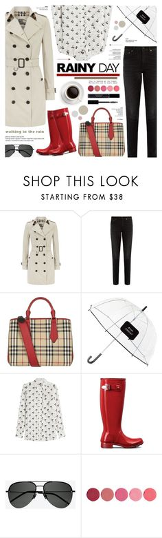 """""""Splish Splash: Rainy Day Style"""" by anyasdesigns ❤ liked on Polyvore featuring Burberry, Yves Saint Laurent, Kate Spade, Victoria Beckham, Hunter, Kjaer Weis and Christian Dior"""