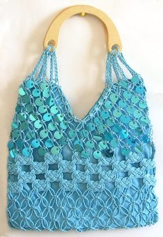 Light Blue Sequined Macreme Bag with Wooden Handle (Thread,Cloth and Sequin))
