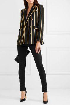 2cf5a11533c7 Saint Laurent - Metallic canvas-striped wool blazer