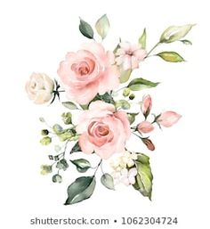 Similar Images, Stock Photos & Vectors of watercolor flowers. floral illustration, Leaf and buds. Botanic composition for wedding or greeting card. branch of flowers - abstraction roses, hydrangea - 1032867733 Watercolor Flowers, Watercolor Art, Illustration Art Drawing, Illustration Flower, Watercolor Paintings For Beginners, Botanical Flowers, Floral Illustrations, Pretty Flowers, Design Elements