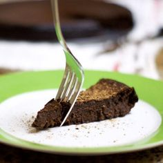Chocolate flourless cake. I started with this recipe but used sugar instead of honey. It was easy to make a single-serving (okay, a BIG single serving!) size by using only one egg and cutting all other ingredients accordingly.