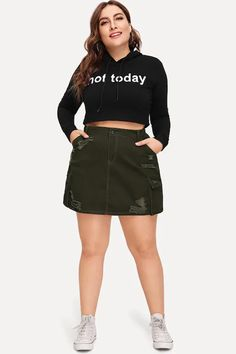 Curve Girl Plus Size Clothing at PlusSizeDesi.com - Cargo Mini Skirt     $21.99     Retail Price:$42.99 #psdesi #psd #plussizedesi #plussizefashion #womensclothing #plussize Formal Skirt And Top, Skirt And Top Set, Plus Size Dresses, Plus Size Outfits, Trendy Outfits, Size Zero, Girl With Curves, Bodycon Dress Parties, Clothing Websites