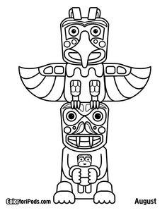 √ totem Pole Coloring Pages . 3 totem Pole Coloring Pages . Art Totem, Totem Pole Craft, Raven Totem, Wolf Totem, Native American Totem Poles, Native American Art, American Symbols, American Women, American Indians