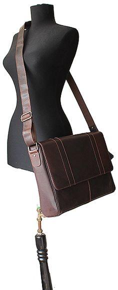 Large Men's Brown Leather Messenger Bag – Landscape Size