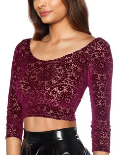 Burned Velvet Regal Red 3/4 Sleeve Crop - LIMITED (WW ONLY $50AUD) by Black Milk Clothing - M