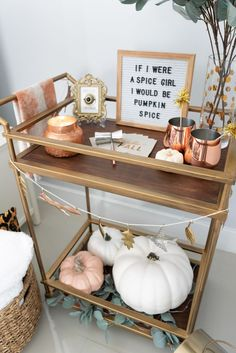 Fall Bar Cart Funny Letter Board Sayings - The Fancy Things Happy Fall, ya'll! I'm soo excited to finally share the fall bar cart reveal with you! I've been working on our bar cart for the past couple weeks Bar Cart Styling, Bar Cart Decor, Fall Home Decor, Autumn Home, Autumn Decor Bedroom, Holiday Fun, Holiday Decor, Festive, Metal Homes