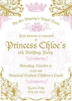 Hey, I found this really awesome Etsy listing at https://www.etsy.com/listing/207581286/royal-princess-invitations