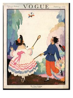 Vogue Cover - August 1919    Illustration of boy and girl playing badminton in country landscape.