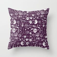 Day of the dead - Purple Throw Pillow by Farnell - $20.00