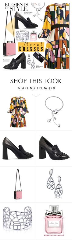 """Pretty floral"" by mada-malureanu ❤ liked on Polyvore featuring Roksanda, Tod's, Olympia Le-Tan, Vera Wang, Christian Dior, Chicnova Fashion, Silver, jewelry and revekarose"