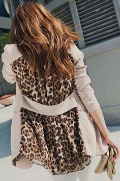 Leopard Printed Blending Long Sleeves Blazer