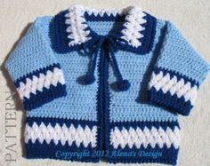 Crochet Pattern 046 - Blue Baby Jacket Baby Boys Toddler Sweater Baby Boy Cardigan Newborn Coat Winter Sweater Baby Shower Christmas Gift