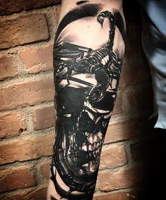 Skull; scorpion; tattoo; black and grey ; realism; ink; 2018; great;