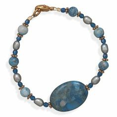 7.25 Inch Copper Bracelet With Blue Lace Agate Cultured Freshwater Pearls and Crystals - JewelryWeb JewelryWeb. $40.40